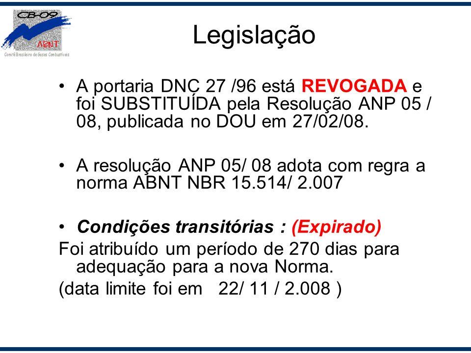 Legislação A portaria DNC 27 /96 está REVOGADA e foi SUBSTITUÍDA pela Resolução ANP 05 / 08, publicada no DOU em 27/02/08.