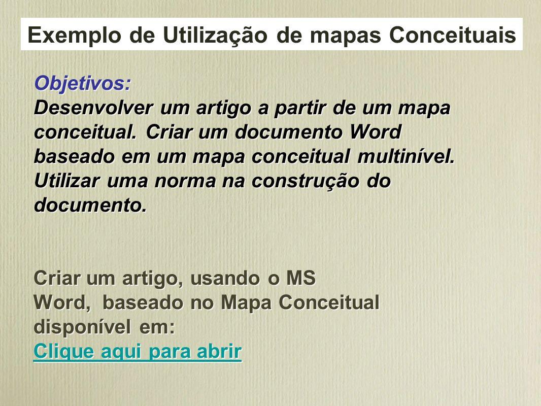 Exemplo de Utilização de mapas Conceituais