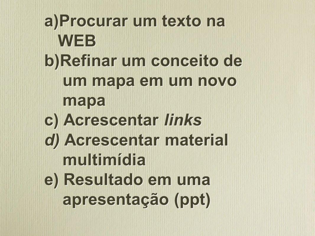 Procurar um texto na WEB b)Refinar um conceito de um mapa em um novo mapa c) Acrescentar links d) Acrescentar material multimídia e) Resultado em uma apresentação (ppt)