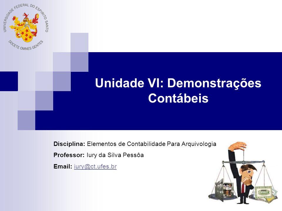 Unidade VI: Demonstrações Contábeis