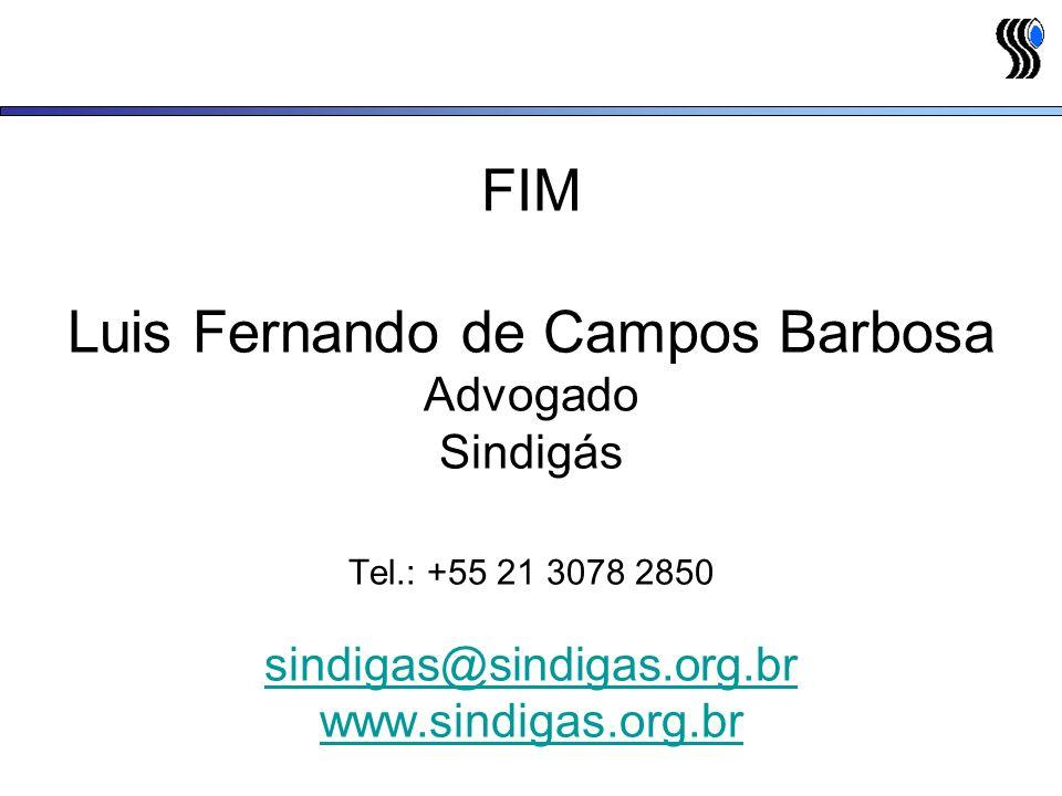 FIM Luis Fernando de Campos Barbosa Advogado Sindigás Tel