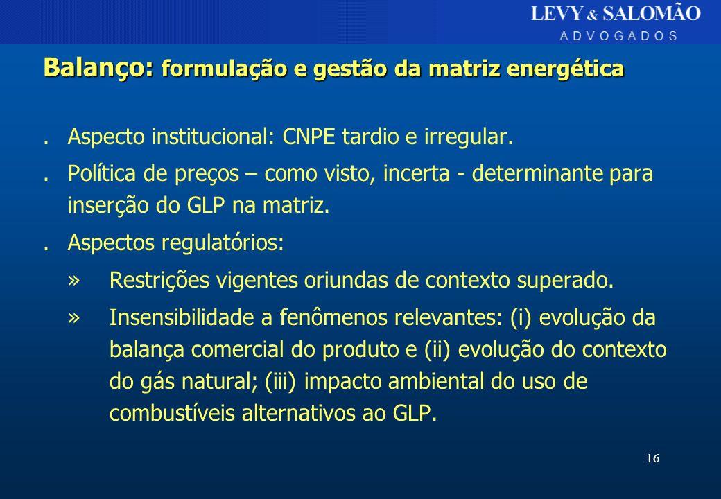 Balanço: formulação e gestão da matriz energética