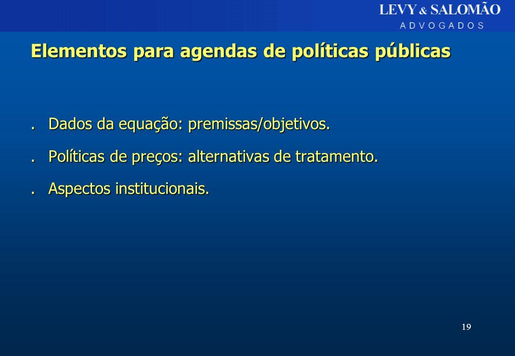 Elementos para agendas de políticas públicas