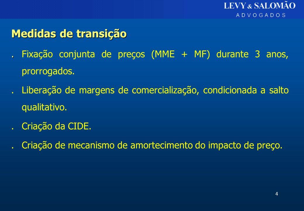 Medidas de transição . Fixação conjunta de preços (MME + MF) durante 3 anos, prorrogados.