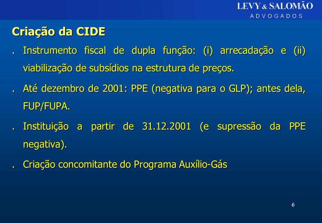 Criação da CIDE . Instrumento fiscal de dupla função: (i) arrecadação e (ii) viabilização de subsídios na estrutura de preços.