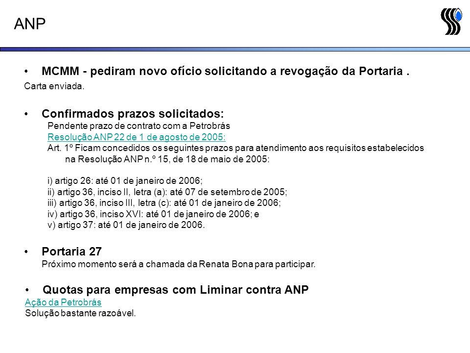 ANP MCMM - pediram novo ofício solicitando a revogação da Portaria .