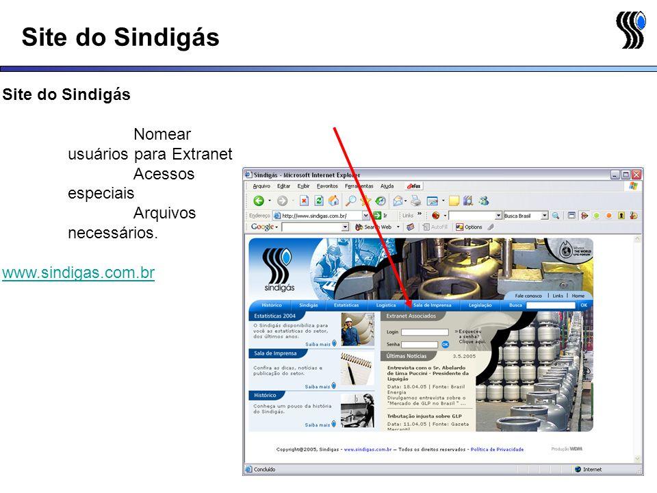 Site do Sindigás Site do Sindigás Nomear usuários para Extranet