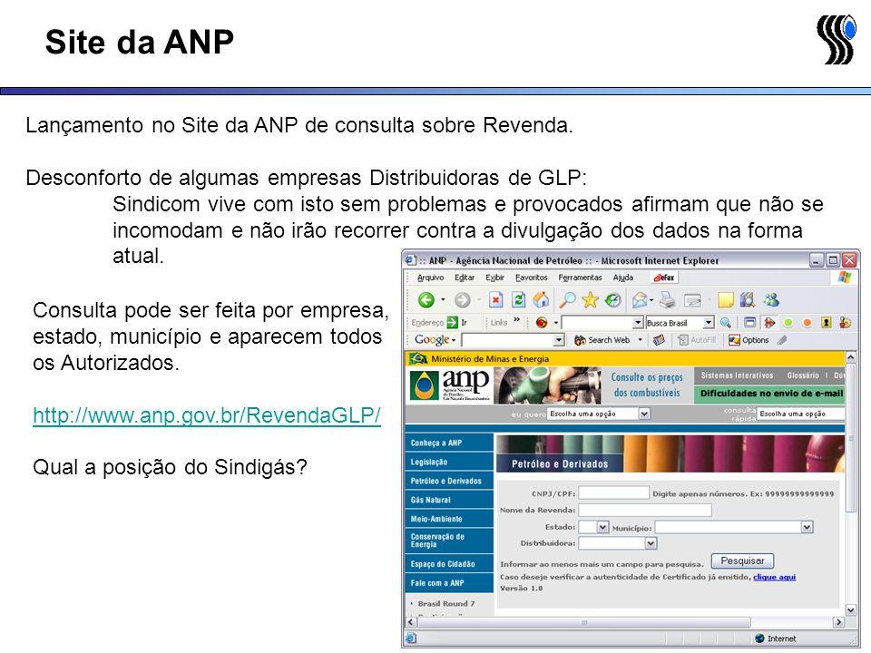 Site da ANP Lançamento no Site da ANP de consulta sobre Revenda.