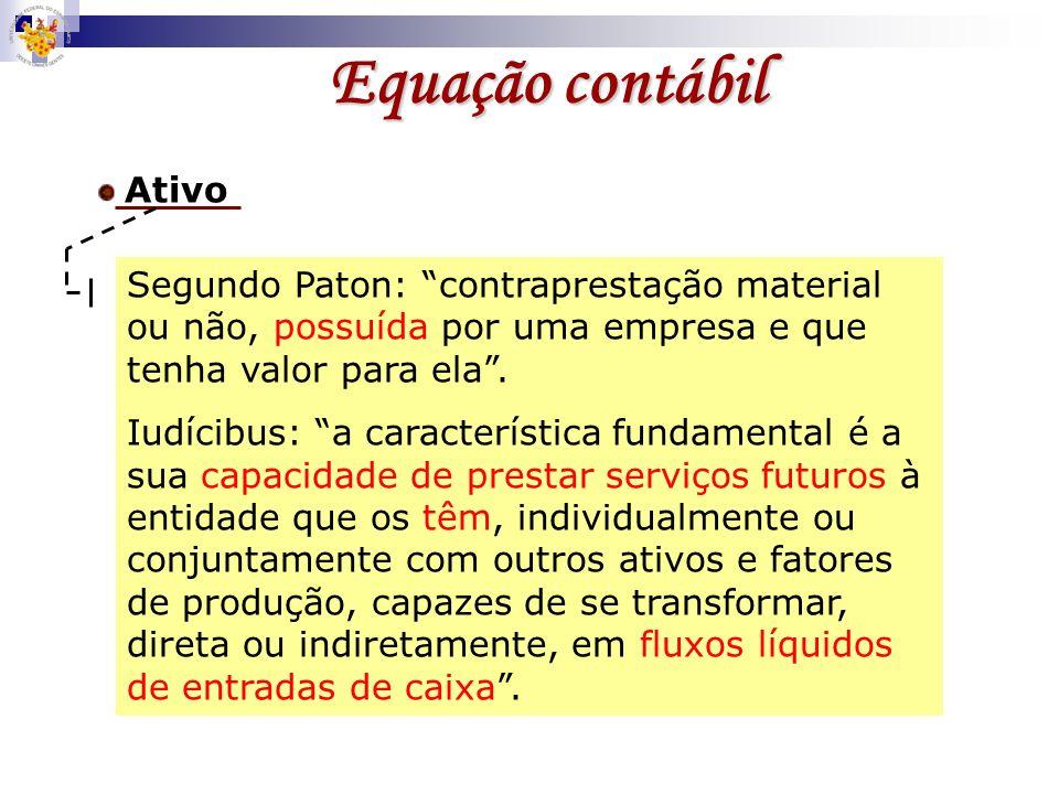Equação contábilAtivo. Segundo Paton: contraprestação material ou não, possuída por uma empresa e que tenha valor para ela .