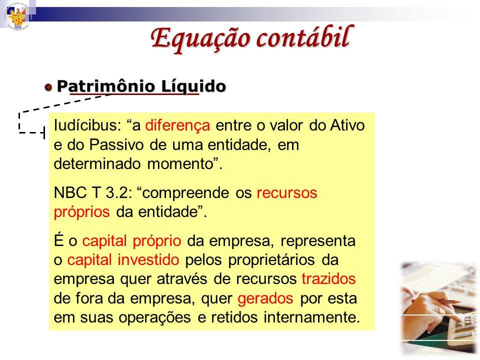 Equação contábil Patrimônio Líquido. Iudícibus: a diferença entre o valor do Ativo e do Passivo de uma entidade, em determinado momento .