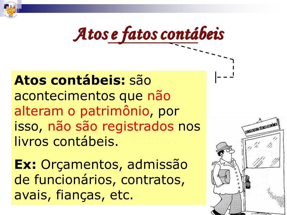 Atos e fatos contábeis Atos contábeis: são acontecimentos que não alteram o patrimônio, por isso, não são registrados nos livros contábeis.