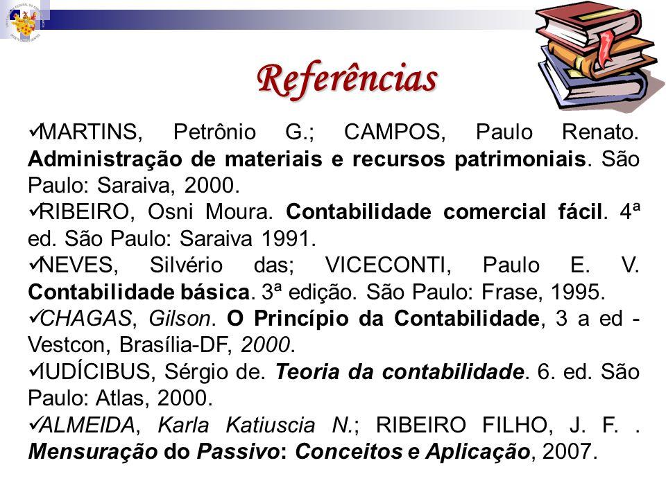 Referências MARTINS, Petrônio G.; CAMPOS, Paulo Renato. Administração de materiais e recursos patrimoniais. São Paulo: Saraiva, 2000.