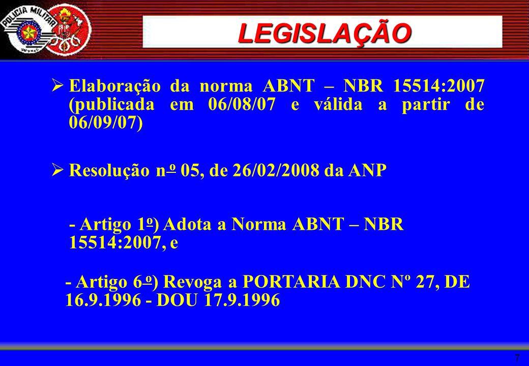 LEGISLAÇÃO Elaboração da norma ABNT – NBR 15514:2007 (publicada em 06/08/07 e válida a partir de 06/09/07)
