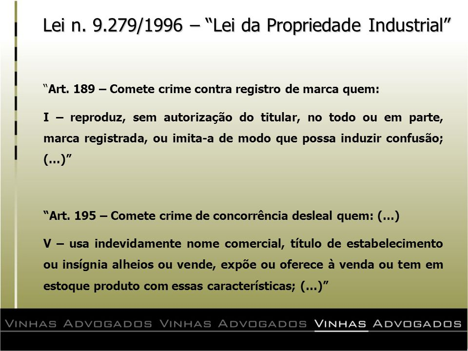 Lei n. 9.279/1996 – Lei da Propriedade Industrial