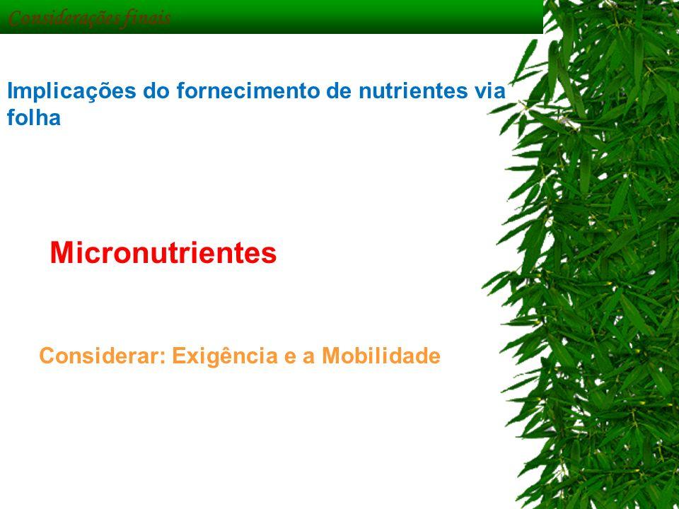 Micronutrientes Considerações finais