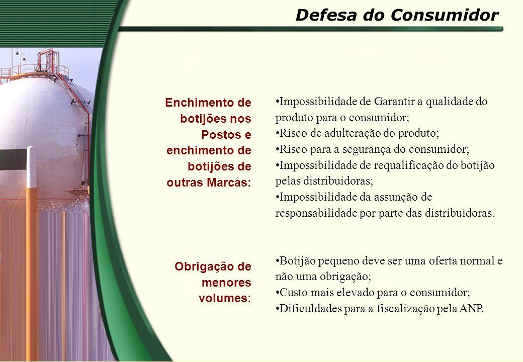 Defesa do Consumidor Enchimento de botijões nos Postos e enchimento de botijões de outras Marcas: Obrigação de menores volumes: