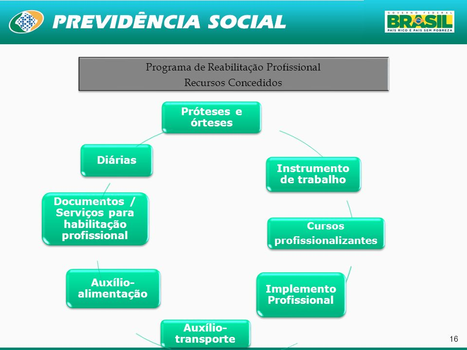 Programa de Reabilitação Profissional Recursos Concedidos