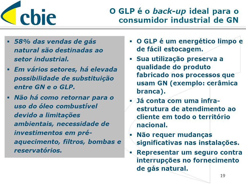 O GLP é o back-up ideal para o consumidor industrial de GN