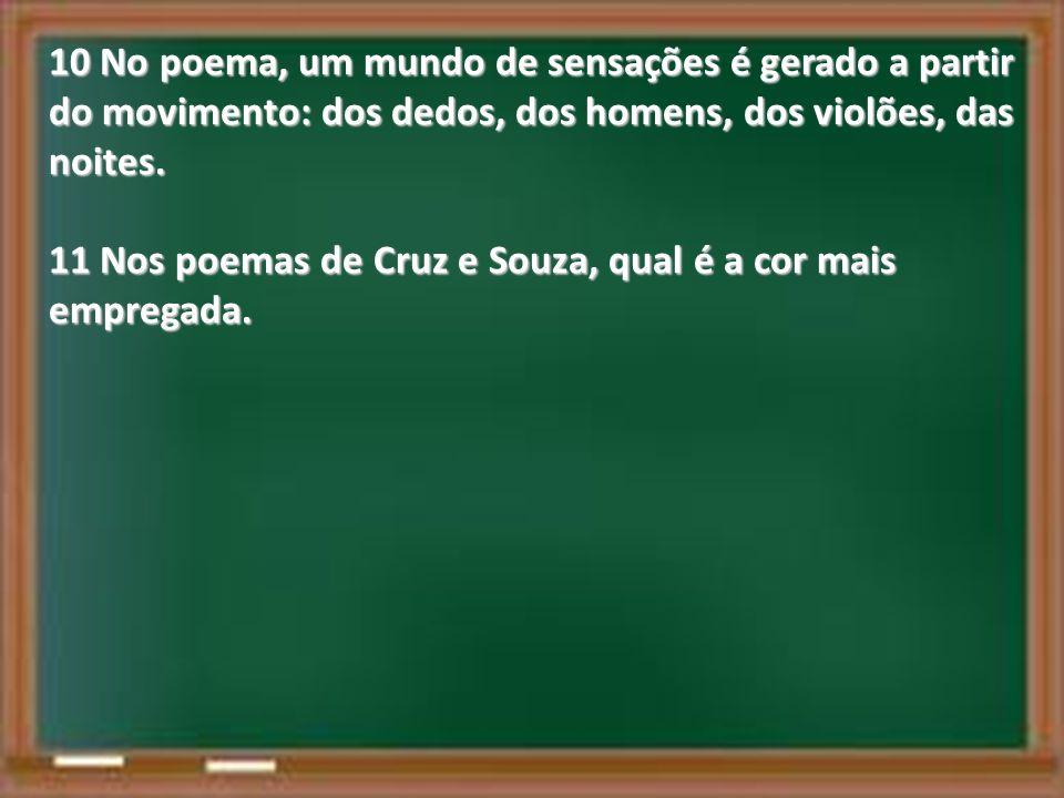 10 No poema, um mundo de sensações é gerado a partir do movimento: dos dedos, dos homens, dos violões, das noites.