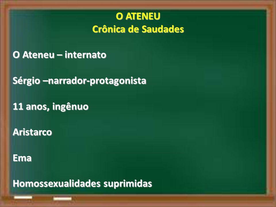O ATENEU Crônica de Saudades. O Ateneu – internato. Sérgio –narrador-protagonista. 11 anos, ingênuo.