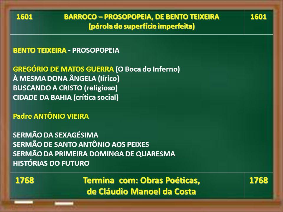 1768 Termina com: Obras Poéticas, de Cláudio Manoel da Costa