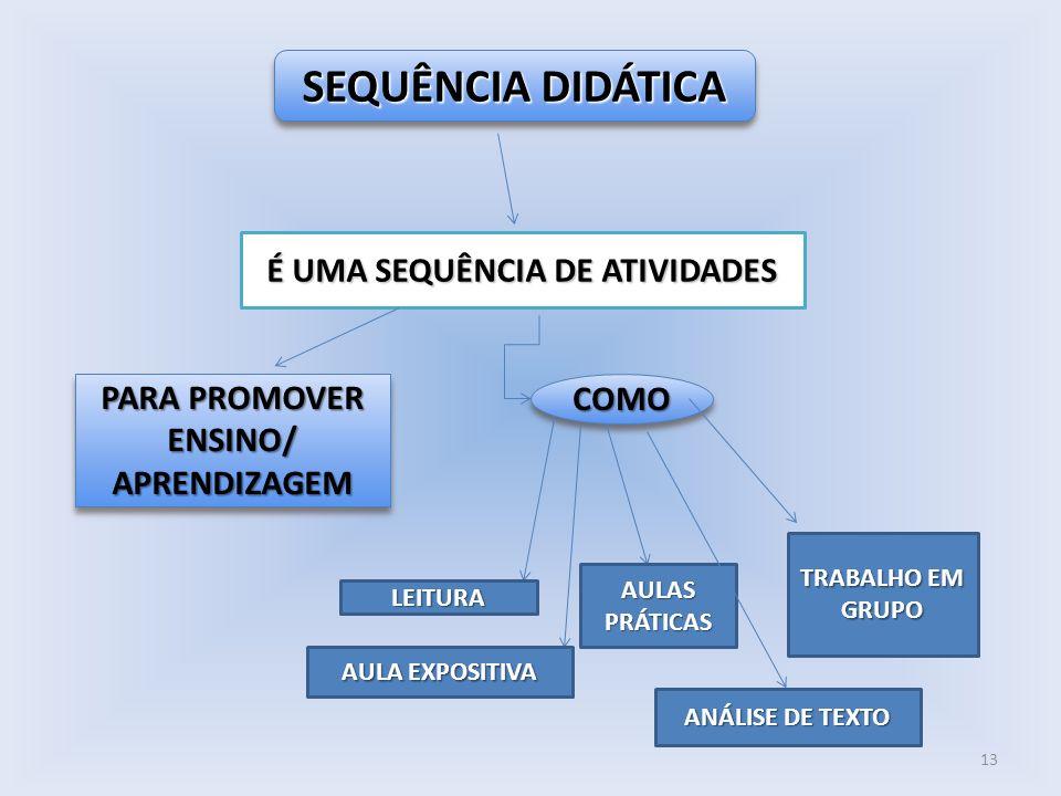 É UMA SEQUÊNCIA DE ATIVIDADES PARA PROMOVER ENSINO/ APRENDIZAGEM
