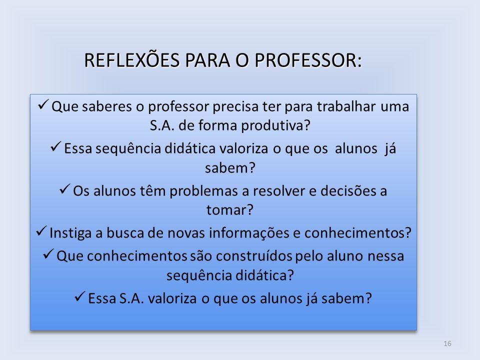 REFLEXÕES PARA O PROFESSOR:
