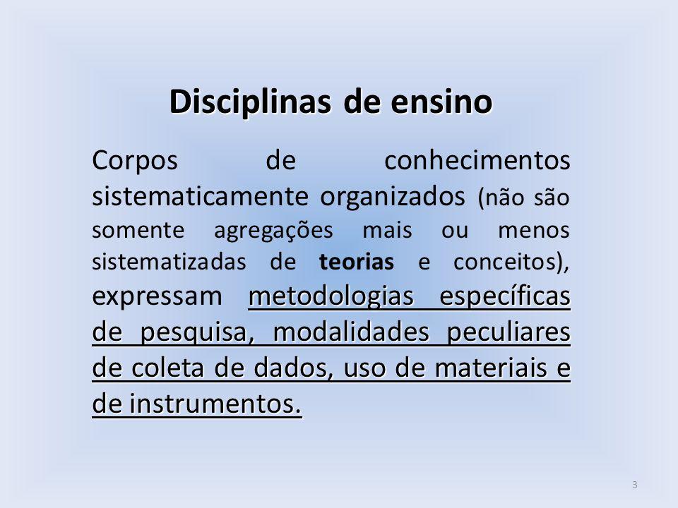 Disciplinas de ensino