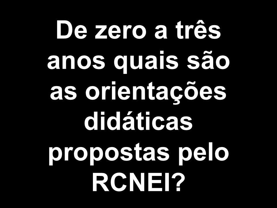 De zero a três anos quais são as orientações didáticas propostas pelo RCNEI