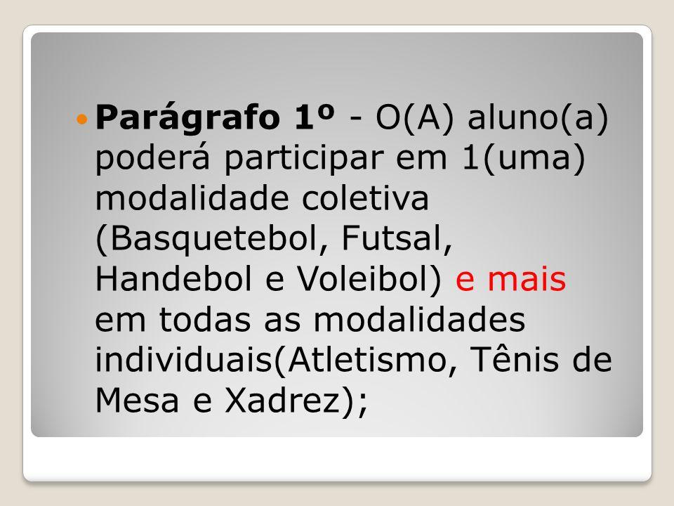 Parágrafo 1º - O(A) aluno(a) poderá participar em 1(uma) modalidade coletiva (Basquetebol, Futsal, Handebol e Voleibol) e mais em todas as modalidades individuais(Atletismo, Tênis de Mesa e Xadrez);