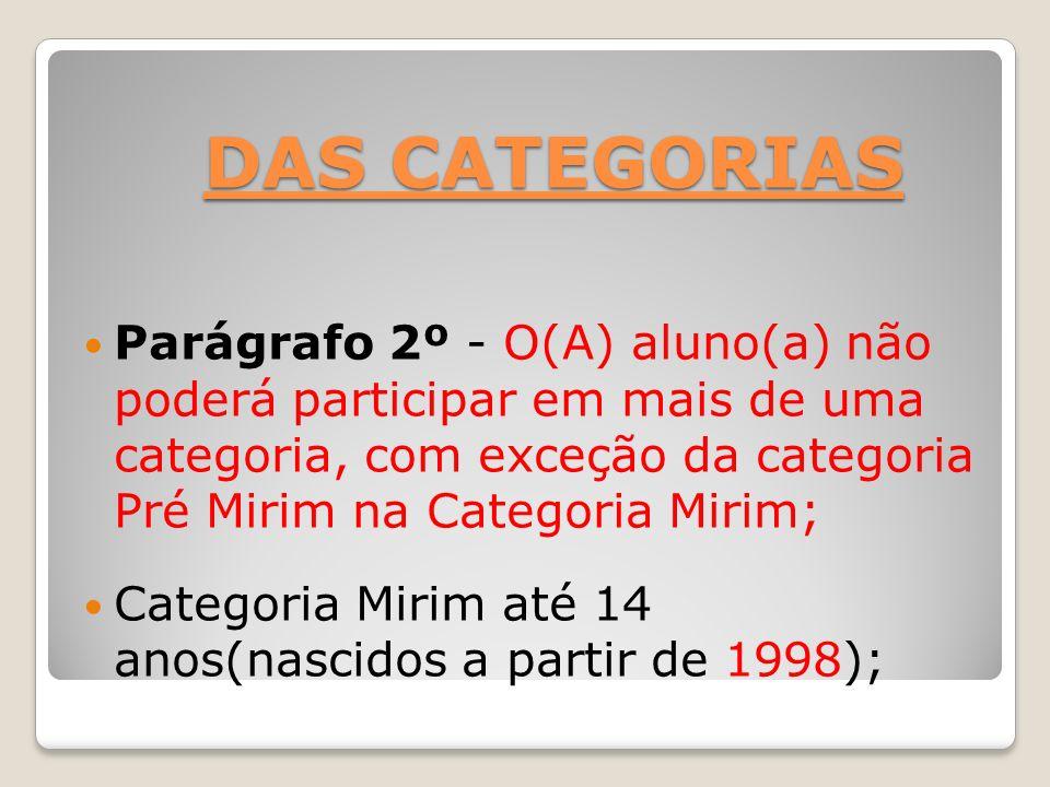 DAS CATEGORIAS Parágrafo 2º - O(A) aluno(a) não poderá participar em mais de uma categoria, com exceção da categoria Pré Mirim na Categoria Mirim;