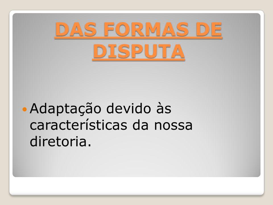 DAS FORMAS DE DISPUTA Adaptação devido às características da nossa diretoria.