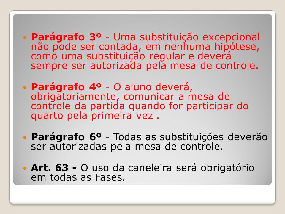 Parágrafo 3º - Uma substituição excepcional não pode ser contada, em nenhuma hipótese, como uma substituição regular e deverá sempre ser autorizada pela mesa de controle.