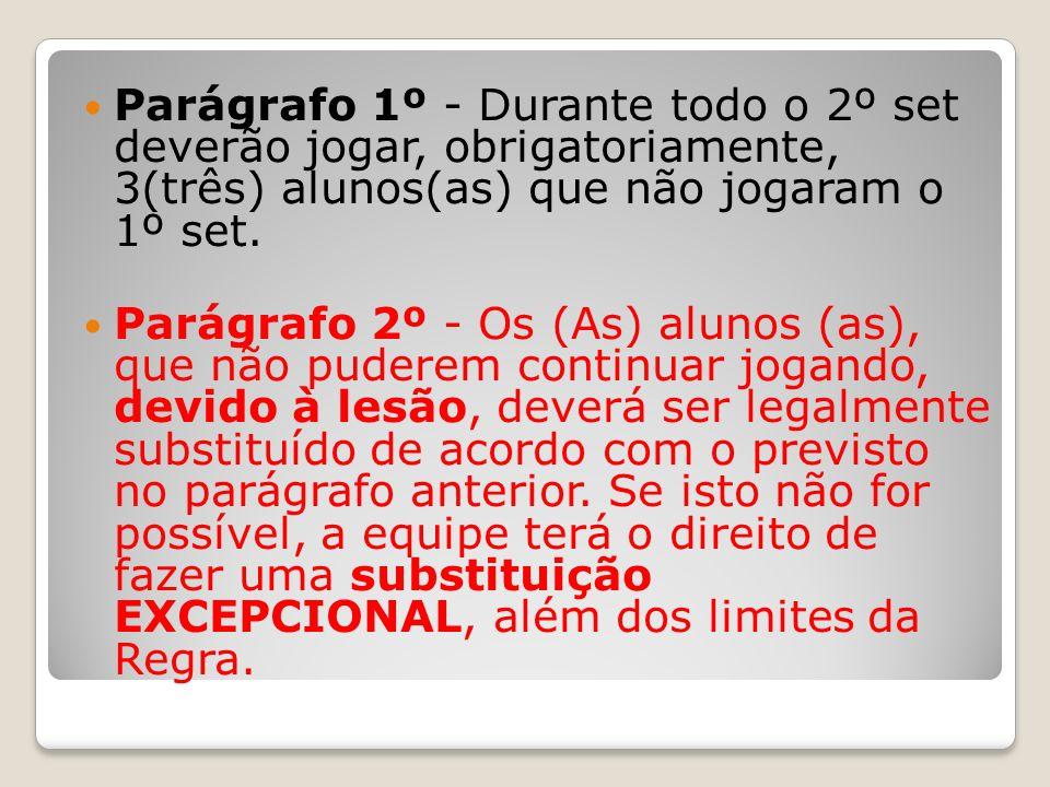 Parágrafo 1º - Durante todo o 2º set deverão jogar, obrigatoriamente, 3(três) alunos(as) que não jogaram o 1º set.