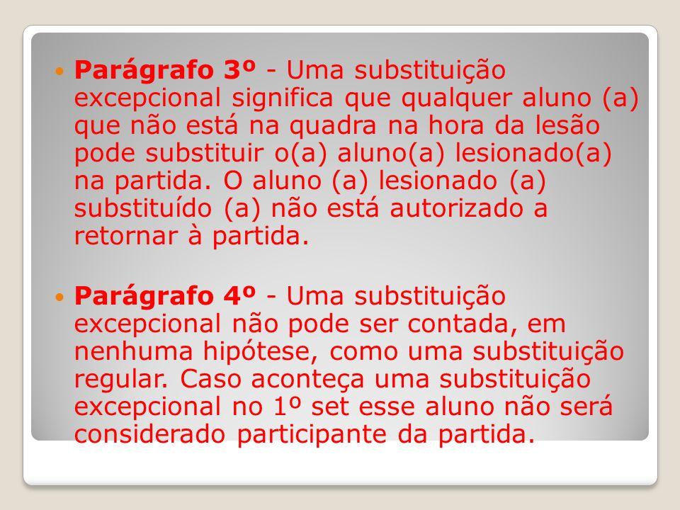 Parágrafo 3º - Uma substituição excepcional significa que qualquer aluno (a) que não está na quadra na hora da lesão pode substituir o(a) aluno(a) lesionado(a) na partida. O aluno (a) lesionado (a) substituído (a) não está autorizado a retornar à partida.