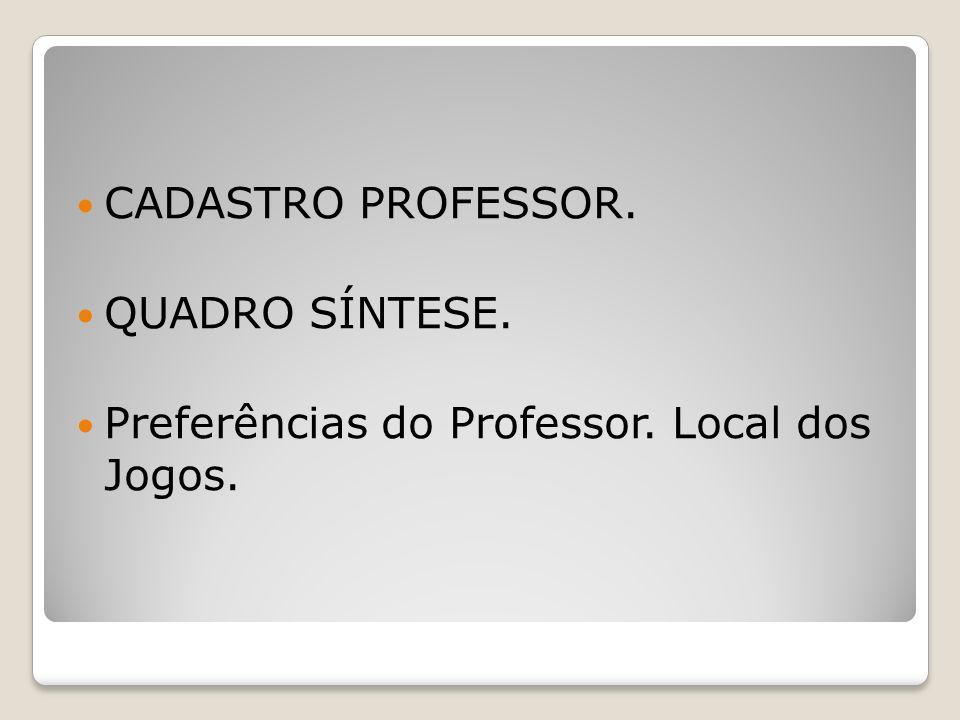 CADASTRO PROFESSOR. QUADRO SÍNTESE. Preferências do Professor. Local dos Jogos.