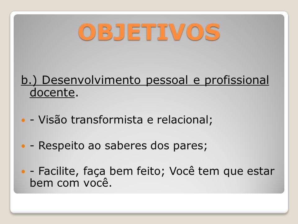 OBJETIVOS b.) Desenvolvimento pessoal e profissional docente.