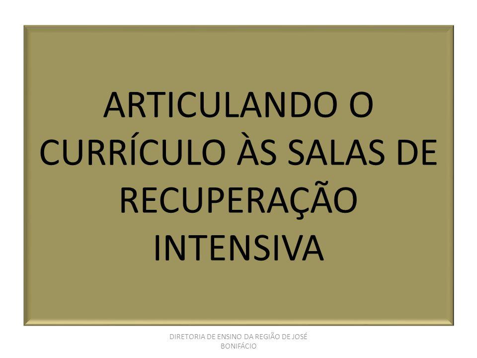 ARTICULANDO O CURRÍCULO ÀS SALAS DE RECUPERAÇÃO INTENSIVA