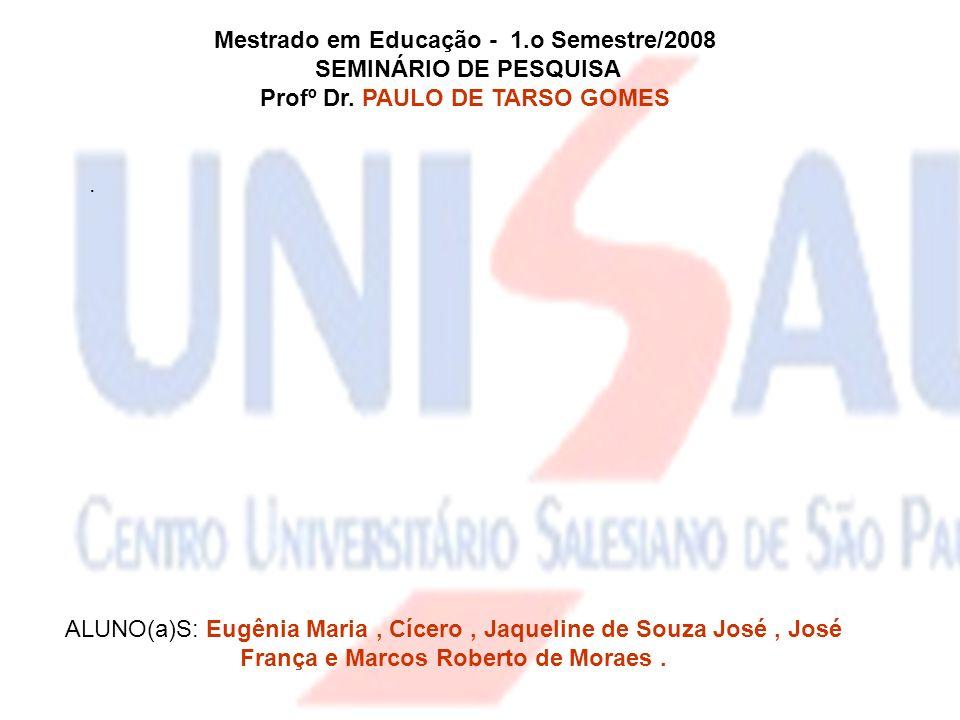 Mestrado em Educação - 1.o Semestre/2008 SEMINÁRIO DE PESQUISA Profº Dr. PAULO DE TARSO GOMES