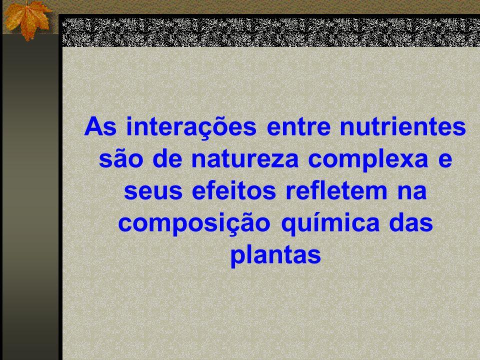 As interações entre nutrientes são de natureza complexa e seus efeitos refletem na composição química das plantas