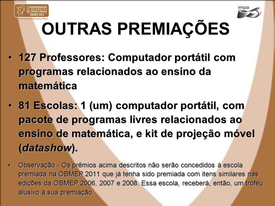 OUTRAS PREMIAÇÕES 127 Professores: Computador portátil com programas relacionados ao ensino da matemática.
