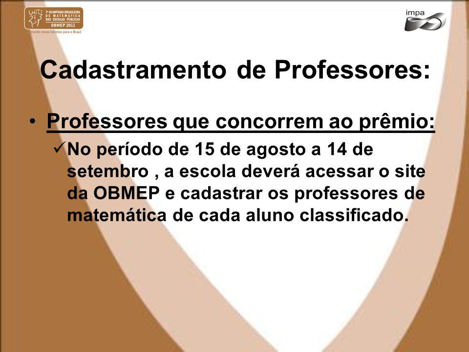 Cadastramento de Professores: