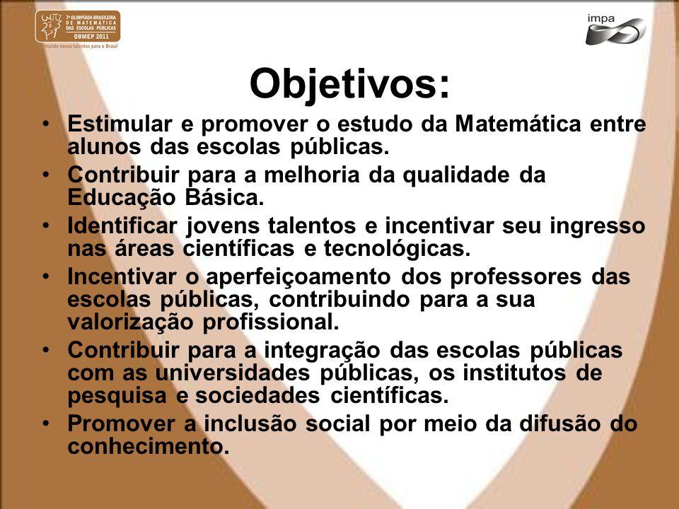 Objetivos: Estimular e promover o estudo da Matemática entre alunos das escolas públicas.
