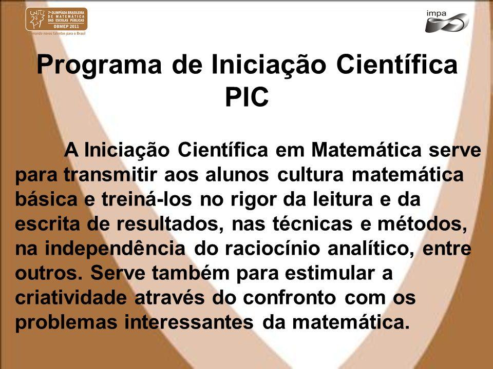 Programa de Iniciação Científica PIC