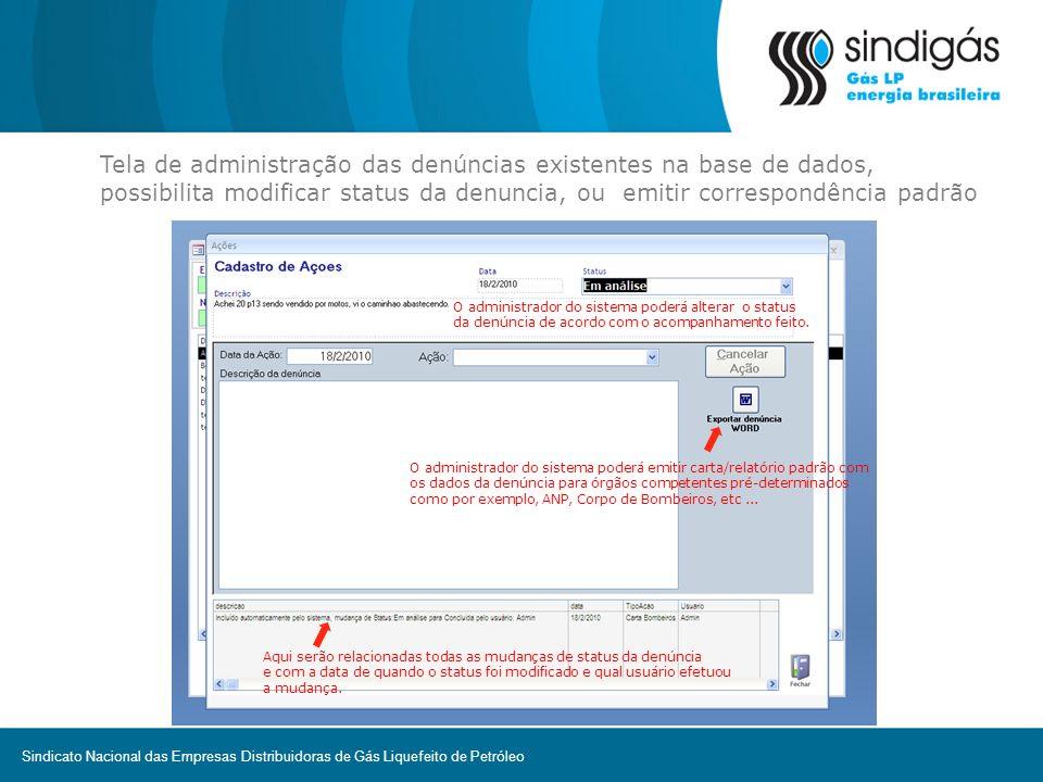 Tela de administração das denúncias existentes na base de dados, possibilita modificar status da denuncia, ou emitir correspondência padrão