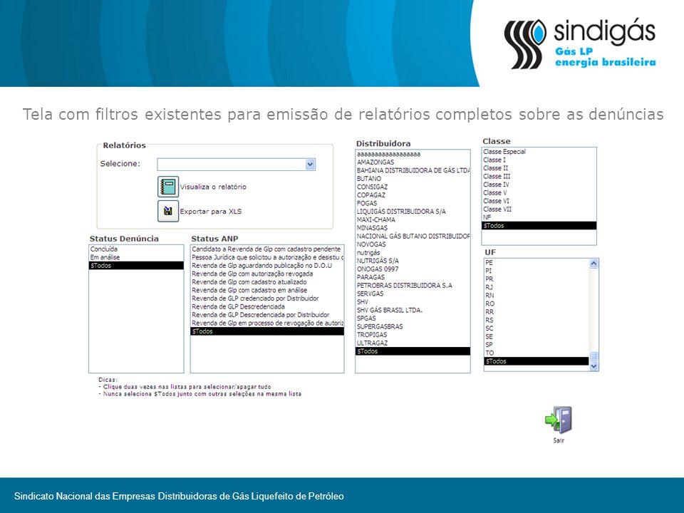 Tela com filtros existentes para emissão de relatórios completos sobre as denúncias