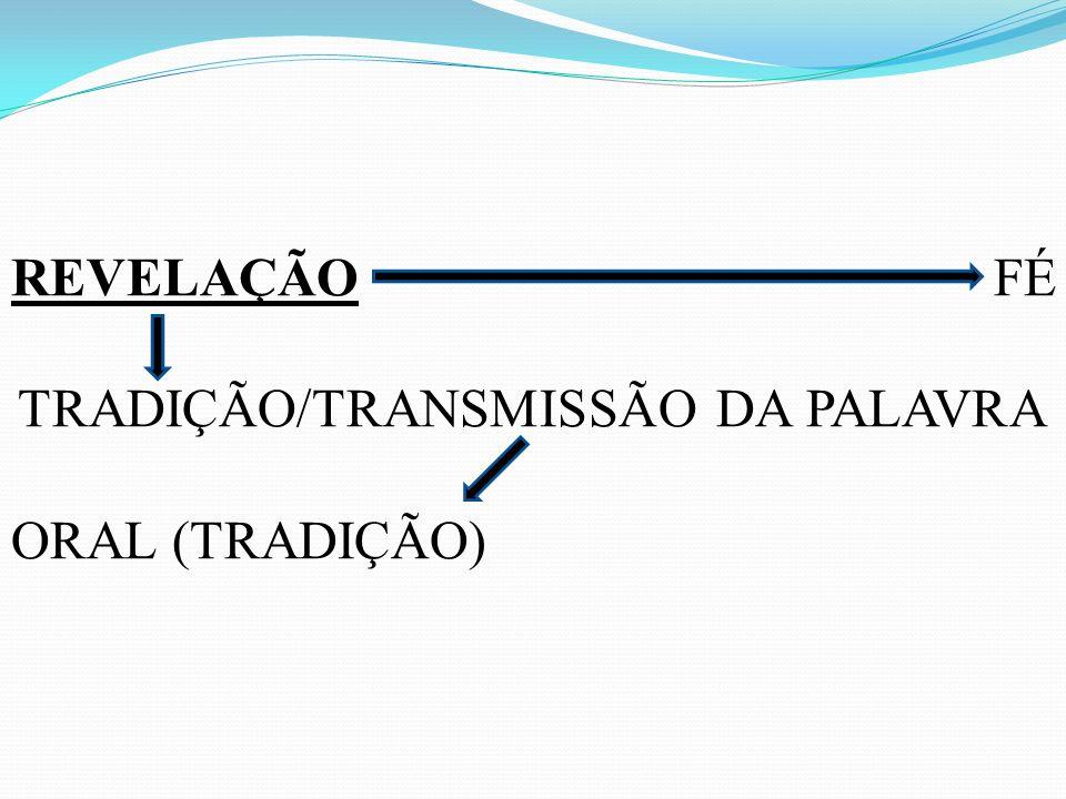 REVELAÇÃO FÉ TRADIÇÃO/TRANSMISSÃO DA PALAVRA ORAL (TRADIÇÃO)