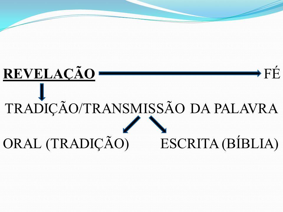 REVELAÇÃO FÉ TRADIÇÃO/TRANSMISSÃO DA PALAVRA ORAL (TRADIÇÃO) ESCRITA (BÍBLIA)