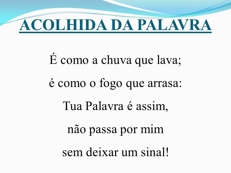 ACOLHIDA DA PALAVRA É como a chuva que lava; é como o fogo que arrasa: Tua Palavra é assim, não passa por mim sem deixar um sinal.
