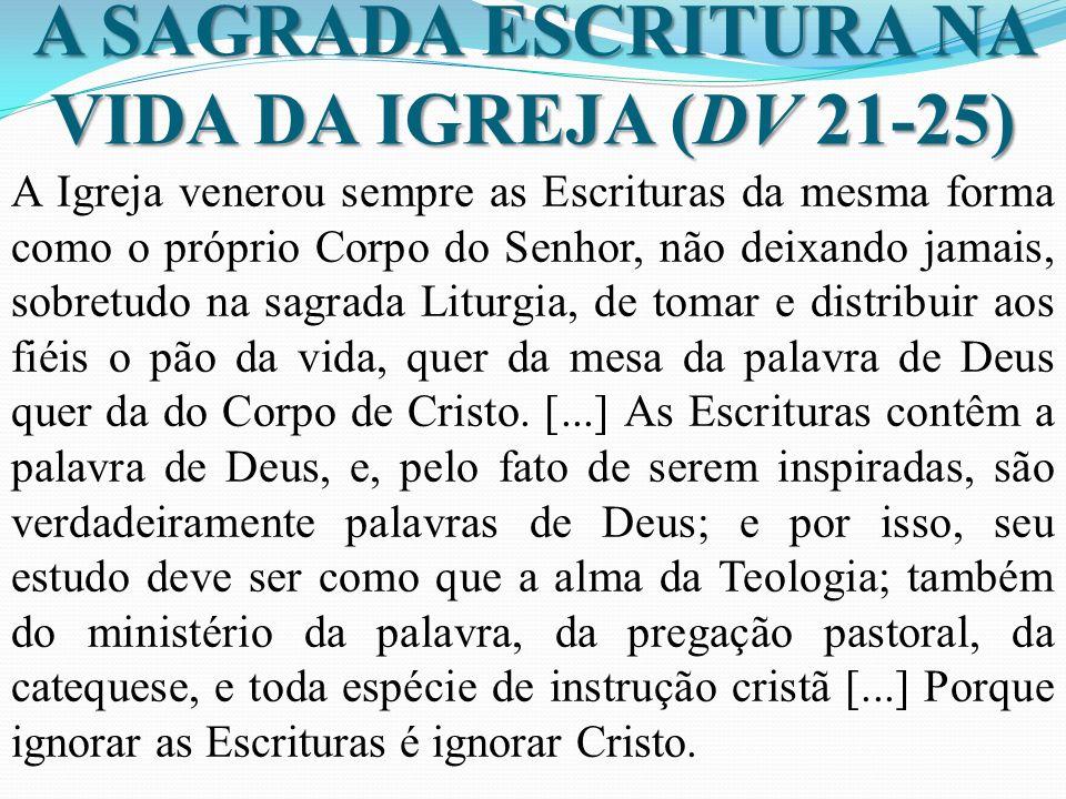 A SAGRADA ESCRITURA NA VIDA DA IGREJA (DV 21-25)